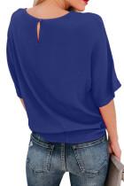 Mavi Kısa Kollu Mürettebat Yaka Fiyonk Tişört
