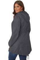 그레이 플러스 사이즈 포켓 파카 재킷