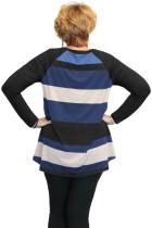 Fekete Multi Colorblock Raglan Sleeve Plus Méret Női Top