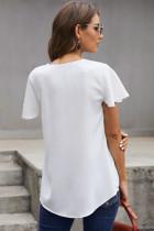 Beyaz V Yaka Kısa Kollu Tişört
