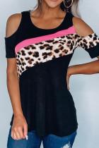 Leopard Patchwork Κρύο ώμο T-shirt