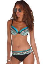 Sky Blue Boho Tribal Print Bikini badkläder