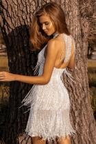 프린지 홀터넥 오픈 백 스팽글 미니 드레스