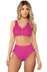 Biquíni de cintura alta com cordão rosa