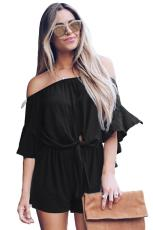 Black Bell Sleeve Off Front Front Tie ขมวดปม Romper