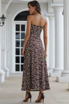 Maxi Dress Bohemian Bandeau Bunga Hitam