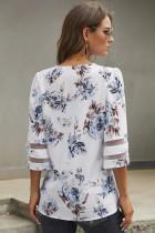 Blusa floral con manga acampanada 3 / 4 blanca
