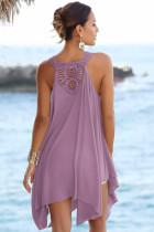 منديل الأرجواني تنحنح الكروشيه الظهر فستان الشمس