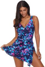 الأزرق زهرة طباعة ملابس السباحة