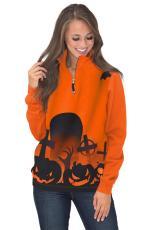 Halloween Screaming Zip Leher Sweatshirt