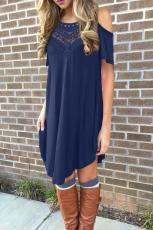 Blaue spitze aushöhlen kalte schulter casual dress