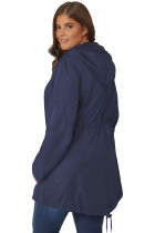 네이비 플러스 사이즈 포켓 파카 재킷