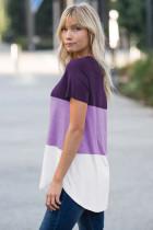 Lila Color Block V-hals T-shirt