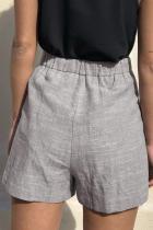 ポケット付きグレーネクタイウエストカジュアルリネンショーツ