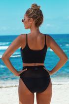 Black The Two-piece Mesh Patchwork Bikini