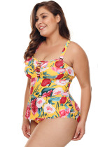 Plus Size Floral Print Incrociato Dettaglio Teddy Swimsuit