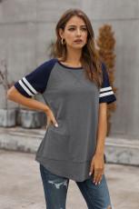 ダークグレーカラーブロックコントラスト半袖Tシャツ
