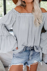 Sky Blue Trip Advisor Off Shoulder Top