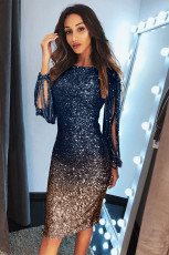 Blue Ombre Sequin Tassel Sleeve Bodycon Evening Dress