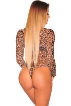 Bodysuit manga comprida de malha pura de impressão de leopardo