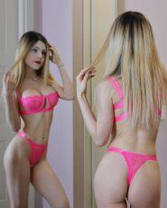 Neon Pink Lace Balconette Bralette Dessous Set