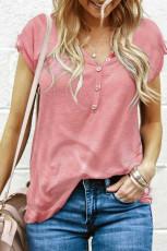 Ροζ Κουμπιά Λεπτομέρεια Βαμβακερό Μπλε Μανίκι T-shirt