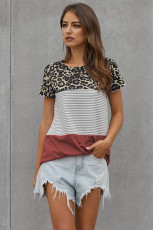Rusty Block Striped and Leopard Short Sleeve Tee