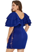 Albastru Cascading umăr Lace Inserați Plus Dress Size