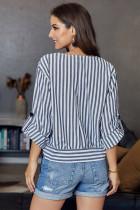 Chemise boutonnée à rayures bleues