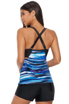 Blue Tie Dye Striped Layered Style Tankini Top