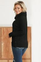 블랙 버튼 포장 터틀넥 스웨터