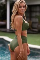 Sutien Shirring Green Army Halter Gât bikini cu talie înaltă