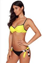 노란색 주름 장식 브래지어 스트라이프 비키니 수영복