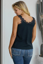 Black Facade Lace Cami Tank Top