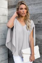 Graue Bluse mit V-Ausschnitt, Schleife und Dreiviertelärmeln