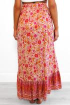 Rød blomstermotiv, der taler smukt Maxi-nederdel