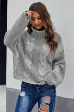 Grey Cuddle Cable Weather Cable Knit Handmade Turtleneck Sweater