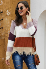 Roter Colorblock Distressed Sweater