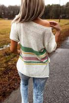 T-shirt in maglia a righe multicolor con spacchi