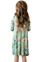 Floral Mint Swing Dress med skjulte lommer