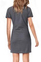 Cinza manga curta gravata cintura t-shirt mini vestido