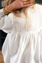 Λευκή βαθύ βισαρόχρωμη μπλούζα δαντέλα V
