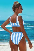 Himmelblå Athletic Striped Tank High Waist Bikini