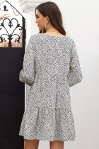 White Leopard Ruffle V-Neck Flowy Loose Tunica Dress