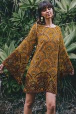 옐로우 스타 라이트 벨 슬리브 쉬프트 프린트 드레스