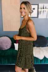 Oliwkowa lampartowa sukienka babydoll