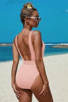 Jednoczęściowy strój kąpielowy z paskiem w różowe prążki
