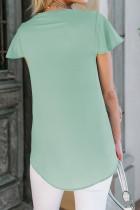 Grünes Kurzarm-T-Shirt mit V-Ausschnitt