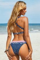 Modrý potisk vázaný Halter Neck Criss Cross Back Bikini Swimsuit