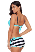 Blauer gekräuselter BH Gestreifter Bikini Bottom Badeanzug